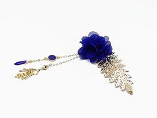 BLU Barrette nozze matrimonio accessorio capelli parrucchiere capelli clip di perle Giappone oro foglia di fiore regali ce...