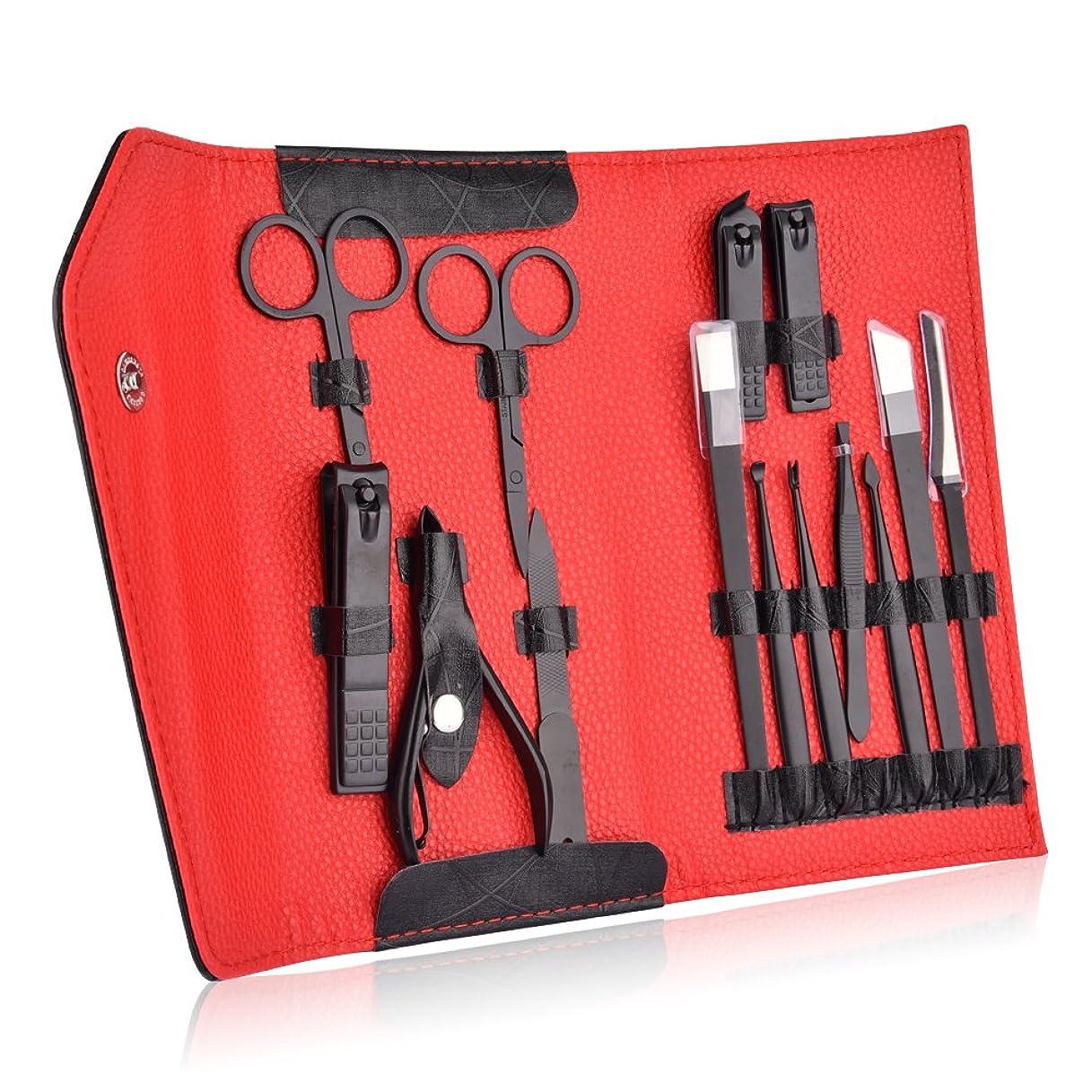 説教するアフリカこねるNail Care Black Stainless Steel Nail Clipper Kits Professional Travel Manicure Tools Grooming Pedicure Set of 14pcs with Case Free shipping
