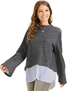SONJA BETRO Women's Mockneck Long Bell Sleeve Stripe Contrast Shirttail Tunic Top Small Charcoal