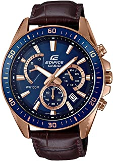 Casio Edifice Men's Blue Dial Leather Chronograph Watch - EFR-552Gl-2AV