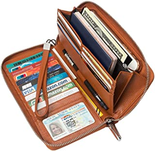 4YOUALL Women's RFID Blocking Large Checkbook Wallet Real Leather Clutch Wristlets Zip Around Travel Wallets Purse