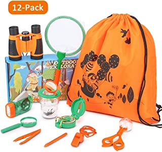 YEZI Outdoor Explorer Kit Gift Kids Toys,12 Pack Kids Adventurer Exploration Equipment Set,Eucational Toys Gifts with Binoculars,Flashlight,Compass,Magnifying Glass,Whistle for Camping Hiking Pretend