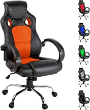 Artiss Gaming Chair Office Computer Racing PU Leather Adjustable Executive Chair with Armrest Highback Black and Orange