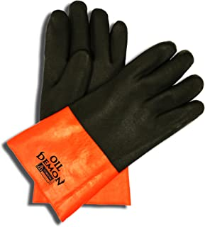 Cordova Safety Products 5312J Oil Demon Orange/Black Double-Dipped PVC Work Gloves with 12