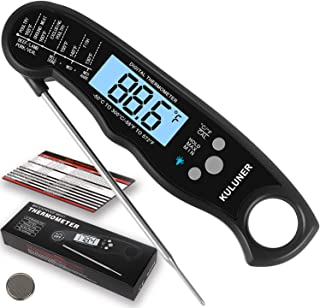 "KULUNER Waterproof Digital Instant Read Meat Thermometer with 4.6"" Folding Probe Backlight & Calibration Function for Cook..."