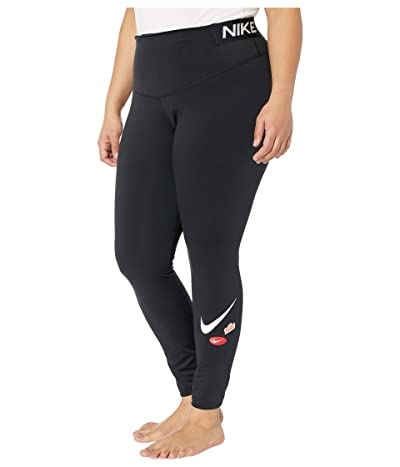 Nike Plus Size One Tights Just Do It Y (Black/Black/White) Women