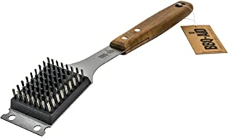 BBQ-Aid Barbecue Grill Brush and Scraper – Extended, Large Wooden Handle and Stainless Steel Bristles – No Scratch Cleaning for Any Grill: Char Broil & Ceramic