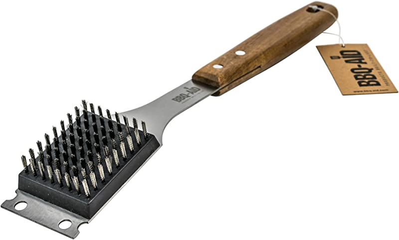 Barbecue Grill Brush And Scraper Extended Large Wooden Handle And Stainless Steel Bristles No Scratch Cleaning For Any Grill Char Broil Ceramic BBQ Aid