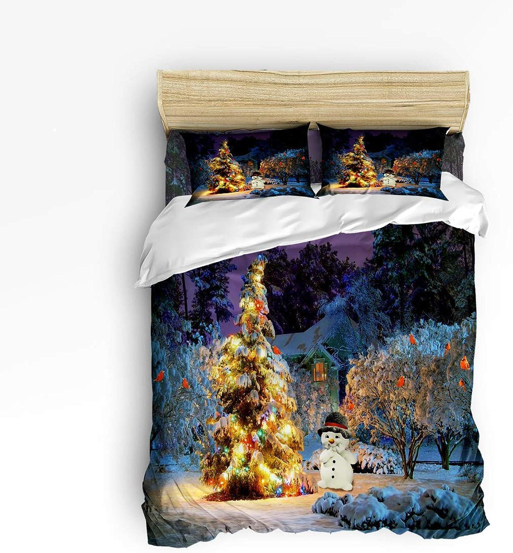 Winter Season Snowman Xmas Tree Snow and Bird Twin Size 4 Piece Bedding Set, Ultra Soft Microfiber Lightweight Microfiber Duvet