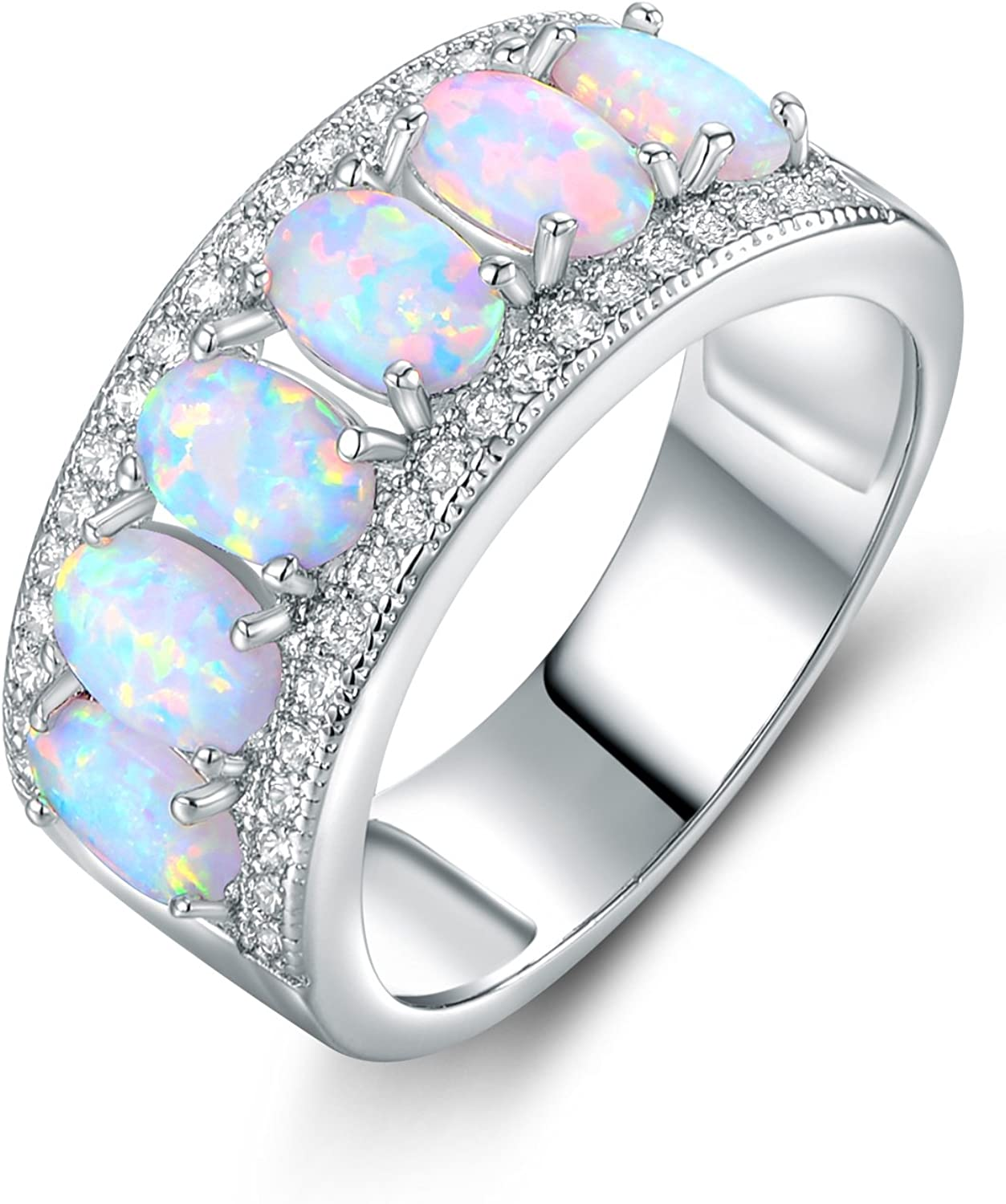 Barzel Oval-Cut Created White Opal & Cubic Zirconia Ring (Comes in Rose & White Gold Plated)