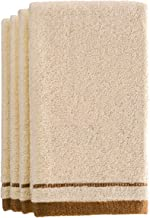 Creative Scents Cotton Fingertip Towels Set - 4 Pack - 11 x 18 Inches Decorative Extra-Absorbent and Soft Terry Towel for Bathroom - Powder Room, Guest and Housewarming Gift (Cream and Brown)