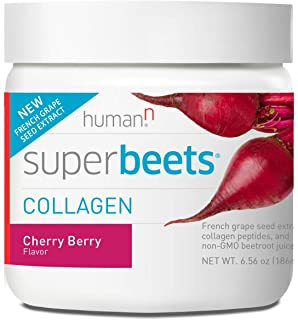 HumanN SuperBeets Collagen Concentrated Non-GMO Beetroot Healthy Skin Supporting Supplement (Cherry Berry Flavor, 6.56-Ounce,1-Pack)