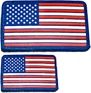Diezel Pet Products American Flag Morale Patch Two Pack - PVC Rubber Patches Show United States Pride Hook Loop RED White Blue OR Thin Blue LINE 2 X 3 INCH Plus Small 1.5 X 2.5 INCH Sizes