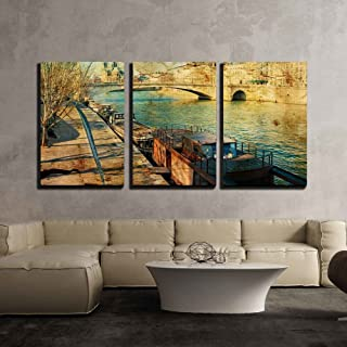 wall26 - 3 Piece Canvas Wall Art - Old-Fashioned Paris France - with Space for Text or Image - Modern Home Decor Stretched and Framed Ready to Hang - 16