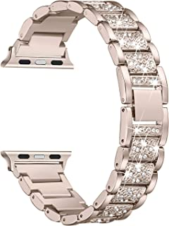 Secbolt Bling Bands Compatible with Apple Watch Band 42mm 44mm Women iWatch Series 5/4/3/2/1, Dressy Jewelry Metal Bracelet with Rhinestones, Champagne Gold