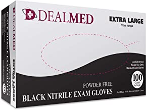 Dealmed Brand Nitrile Medical Exam Gloves, Disposable, Latex Free, Black, 100 Count, Size Extra Large