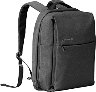 Promate Laptop Backpack, Heavy-Duty Canvas Styled Durable Backpack with Multiple Storage, Quick Access Zipper and Secure Anti-Theft Design for Laptop, Document, Notebook, Travel, CityPack-BP Black