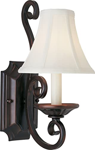 """new arrival Maxim outlet sale 12217OI/SHD123 Manor Wheat Fabric Candle Wall Sconce, 1-Light 60 Watt, high quality 15""""H x 7""""W, Oil Rubbed Bronze online"""