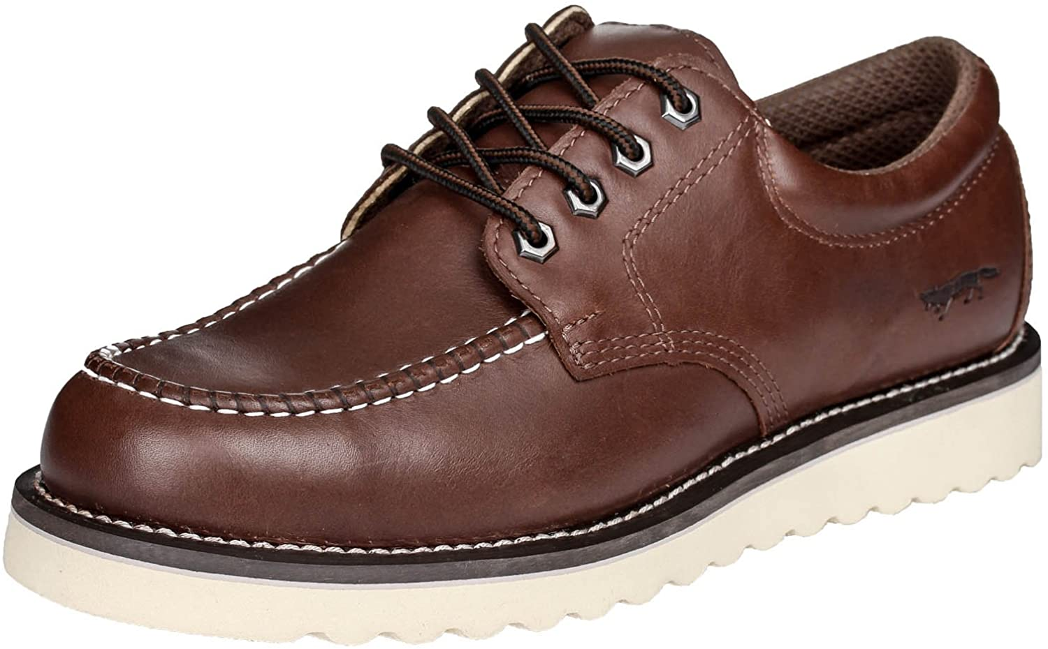 golden Fox Work shoes 4  Moc Toe Leather Men's Oxford for Construction & Casual
