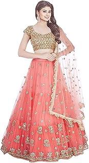 cde0afbe270 Bhurakhiya Women's Embroidery Colour Orange Semi Stitched Lehenga Choli  (Semi Stitched_Free Size)