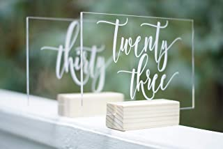 Set of 21-30 Acrylic Calligraphy Table Numbers | Wedding Shower Reception Restaurant | Glass Like Clear Modern Formal Elegant Vintage Rustic | Lettering Script Handwriting Print | Cedar and Ink