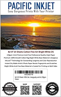 8x10 25 Sheets 100% Cotton Fine Art Matte Bright White Double Sided Inkjet Paper – Professional Paper for Use with Inkjet Printers – Printer Paper for Photography and Art 230gsm