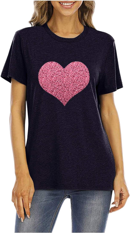 Women's Valentine's Day Shirts Classic Fit Short Sleeve Tshirt Women Women Sequin Love Graphic Tee Shirt