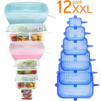[12Pack] Longzon 12pcs Silicone Stretch Lids Rectangular, Reusable Durable Rectangular Food Storage Covers for Bowls, Cups, Cans, Fit Different Sizes & Shapes of Container, Dishwasher & Freezer Safe