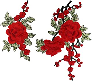 2 Pcs/Set Embroidery Rose Flower Patches Floral Collar Sew On Patch Dress Hat Bag Jeans Applique Crafts DIY Clothing Accessories (red)