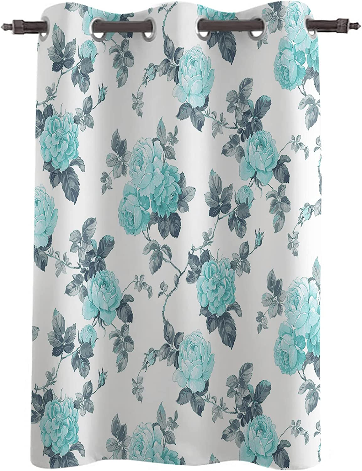 Darkening Blackout Window Now free shipping Curtains Drapes Length Teal Rose Sale special price 36