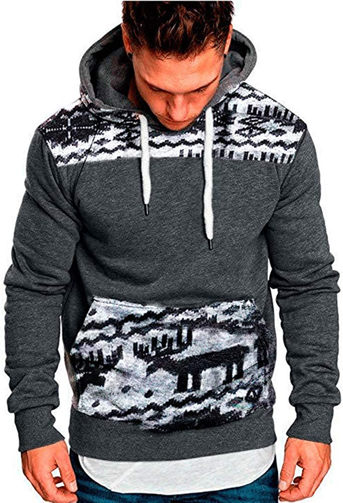 Men Christmas Hoodie Sweatshirt, F_Gotal Unisex Deer Patchwork Long Sleeve Hoodies Hooded Pullover Outwear Big Pocket