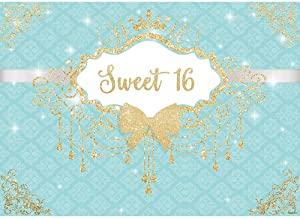 Allenjoy 7X5ft Breakfast Bowknot Turquoise Co Blue Girls Sweet 16 Birthday Party Backdrop Golden Crown Fringes Dessert Candy Cake Table Decors Decorations Banner Supplies Photo Shoot Booth