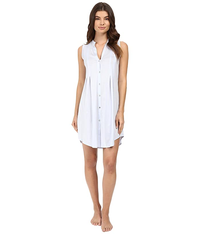 Hanro Cotton Deluxe Button Front Tank Nightgown (Blue Glow) Women