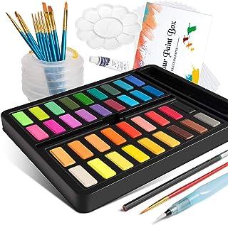 Watercolor Paint Set, Frunsi Professional 36 Assorted Watercolors Travel Pocket Solid Watercolor Kit with Water Brush Pen,...