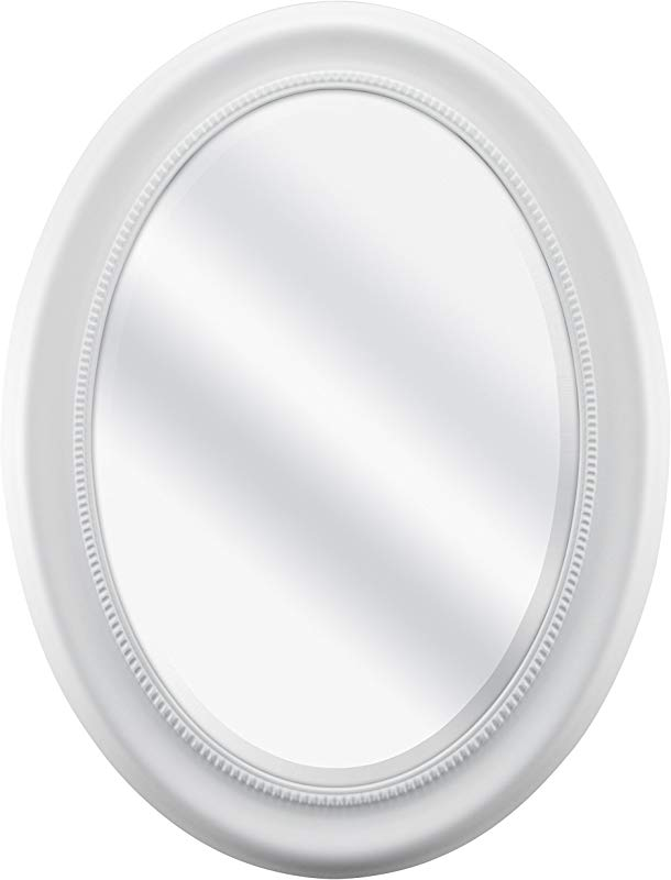 MCS Beaded Oval Wall Mirror 22 5 X 29 5 Inch Overall Size White 65716