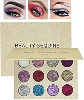 BEAUTY SEQUINS Glitters 12 Shades Pigmented Eyeshadow Palette Shiny Mineral Pressed Powder Glitter Eyes Long Stay On Make Up Eye Shadow Shimmer Palettes Christmas Gifts Set Makeup
