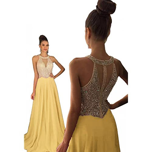 4fdf1fce44 Fanciest Women s Crystal Beaded Prom Dresses 2019 Long Evening Gowns Formal