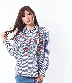 Rality(レリティー) ストライプ 花柄刺繍 シャツ 刺繍ブラウス おしゃれ かわいい トップス レディース オフィス カジュアル