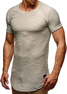 SSYUNO Men Hipster Hip Hop Elong Longline Crewneck T-Shirt Muscle Cotton Casual Tops Slim Fit Blouse Shirts