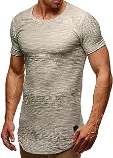SSYUNO Men Hipster Hip Hop Elong Longline Crewneck T-Shirt Muscle Cotton Casual Tops Slim Fit Blouse Shirts