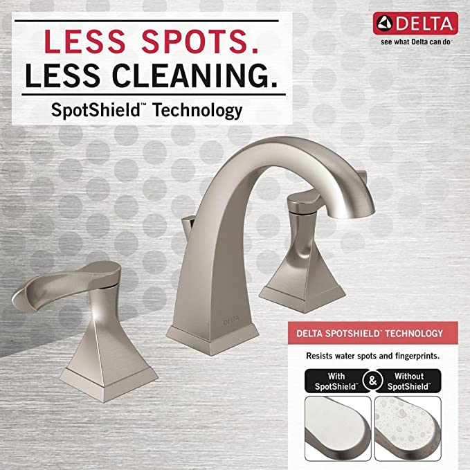 Delta Everly 8 In Widespread 2 Handle Bathroom Faucet With Metal Drain Assembly In Spotshield Brushed Nickel Amazon Com