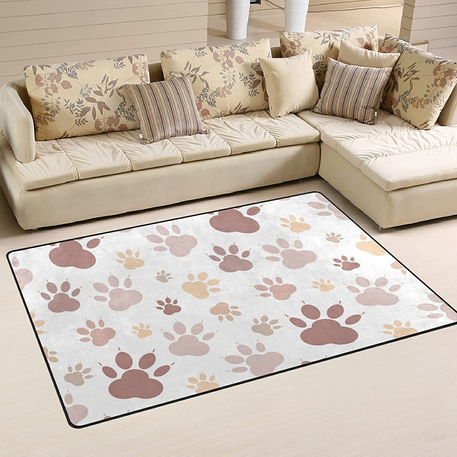 Dog Cat Paw Max 67% OFF Pattern Large Soft Area Rug Playmat NEW Nursery Mat Rugs