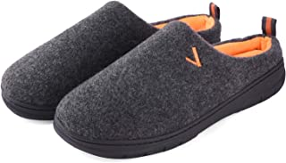 Men Memory Foam Slippers Two Tone Slip On House Shoes Anti Slip Rubber Sole Indoor Outdoor