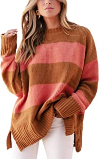 Relipop Women's Knitwear Pullover Crewneck Drop Shoulder Baggy Sleeve Color Strip Side Split Loose Knit Jumper Sweater