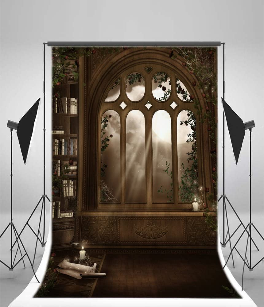 YongFoto 3x5ft Polyester Photography Backdrop Fairytale Forest with Lanterns Green Medow Flowers Backdrops Photo Shoot Lovers Party Game Adult Kids Baby Portrait Photo Background Studio Props