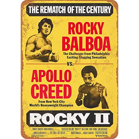 BigBazza Novelty Retro Vintage Wall tin Plaque 20x15cm - Ideal for Pub shed Bar Office Man Cave Home Bedroom Dining Room Kitchen Gift - Rocky 2 Apollo Boxing Fight Movie Metal Sign