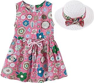 MODNTOGA Toddler Baby Girls Summer Dresses Sleeveless Flower Dress with Straw Hat Sundress Summer Outfits