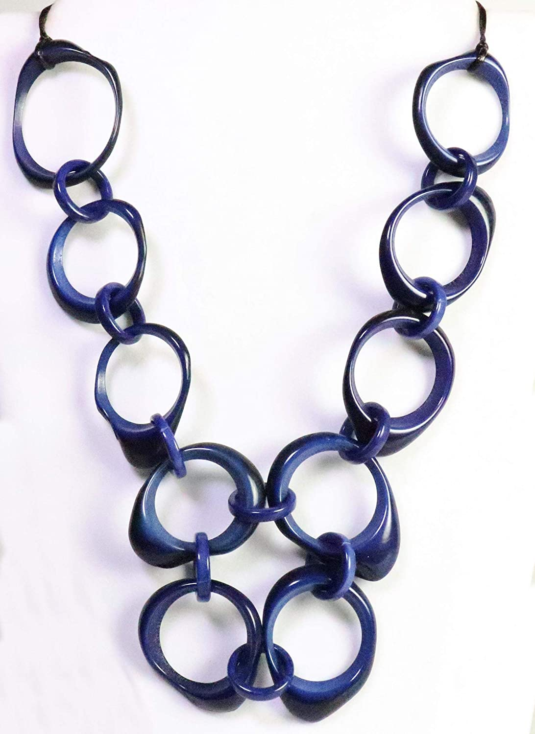 Blue Organic TAGUA Bib Fees free Necklace Max 81% OFF Chained Mo Strand - Mid-Century