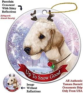 Holiday Pet Gifts Bedlington Terrier Sandy Reindeer Dog Porcelain Christmas Ornament