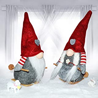 Rxmoto Handmade Gnome Plush Scandinavian Tomte Santa Easter Elf Valentine's Birthday Present Holiday Home Ornaments Christmas Decoration Table Decor (Mini Twin)